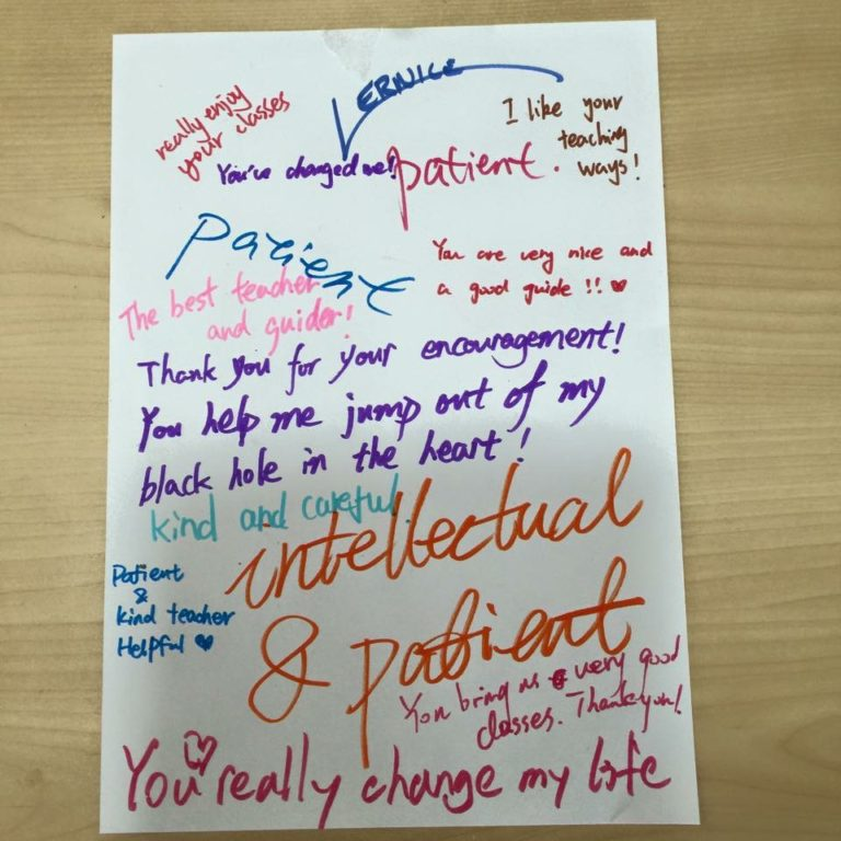 Appreciation note from Students in Shanghai