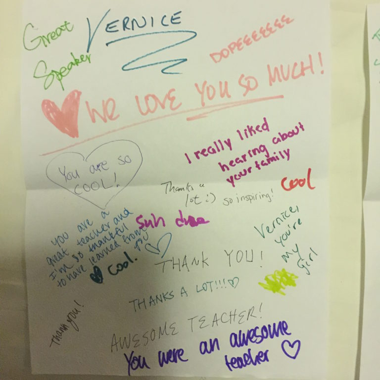 Appreciation note from students at program at Duke University